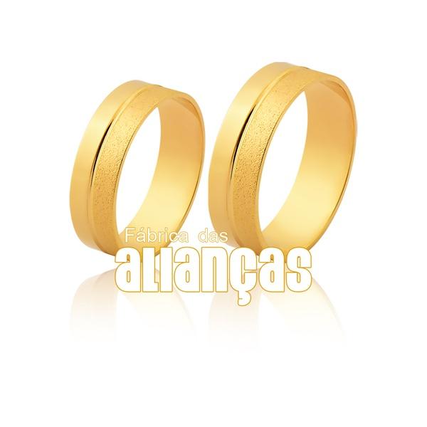 Alianças De Noivado e Casamento Em Ouro Amarelo 18k 0,750 Fa-1134