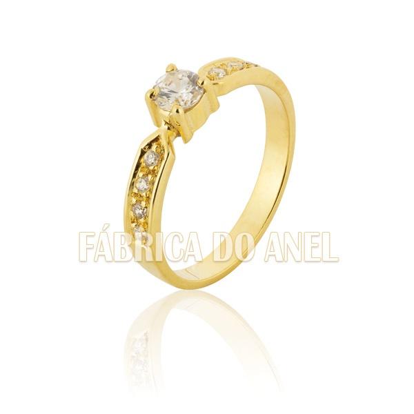 Anel De Noivado De Ouro 18k Com Diamantes
