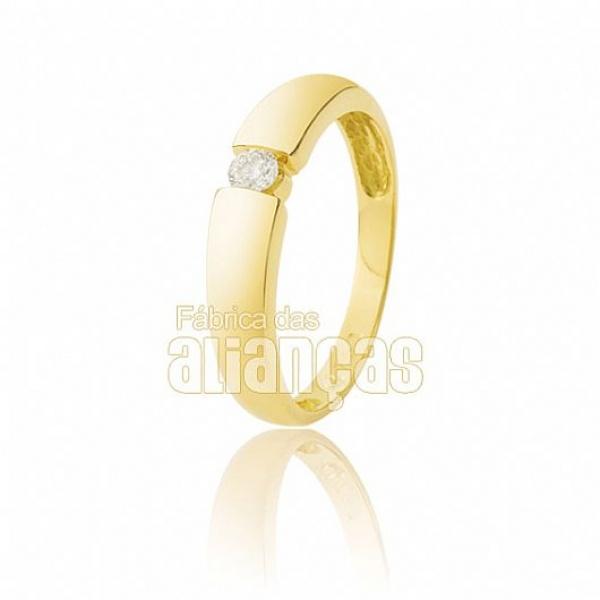 Anel Solitário De Ouro 18k Com Zirconia