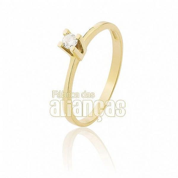 Anel Solitário De Ouro Com Diamante De 0,05 Pontos