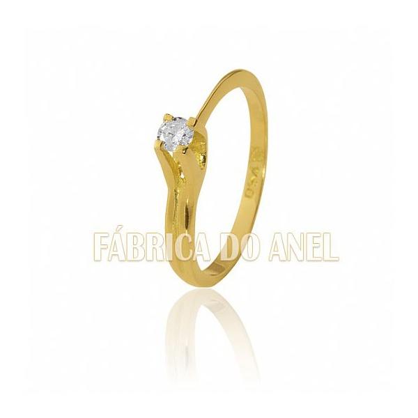 Anel Solitário Com Diamante De 0,13 Ct Ouro 18k