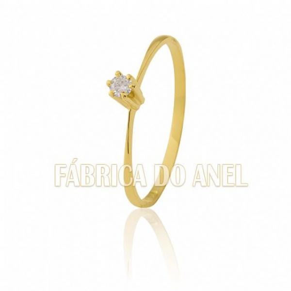Solitário Com Diamante De Ouro 18k
