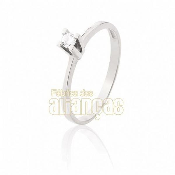 Solitário De Ouro Branco 18k Com Diamante