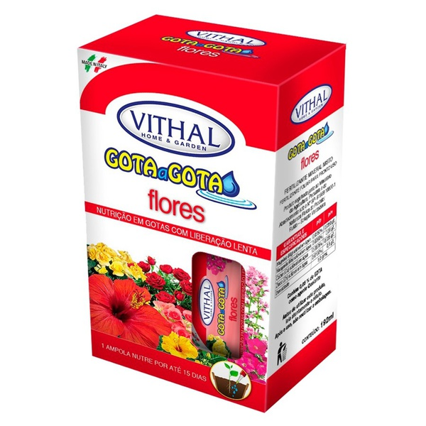 Fertilizante Gota a Gota para flores - Com 6 ampolas - Vithal