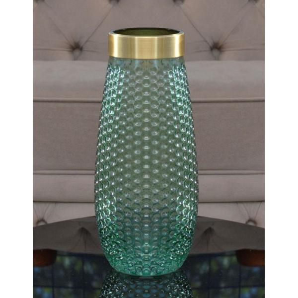 Vaso Decorativo Vidro Transparente Verde com Dourado- Alamin
