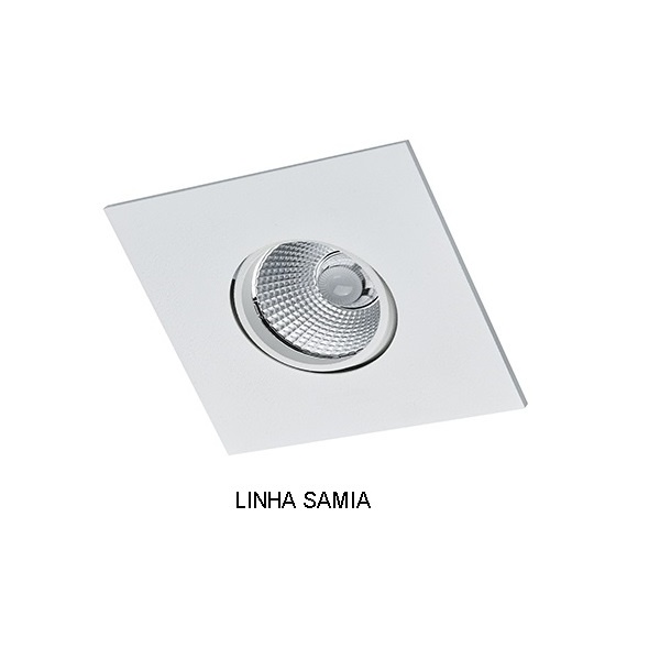 Spot Embutir Dicróica GU10 Quadrado Orientável Alumínio Injetado Face Plana Alamin - AL7011/1Q (Linha Samia)