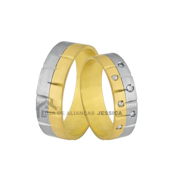 Aliança Em Ouro 18k Com Diamantes - L-CB-81 - Alianças Jessica