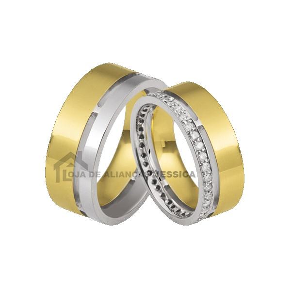 Aliança Em Ouro 18k Cravejada Com Diamantes - L-JR-15 - Alianças Jessica