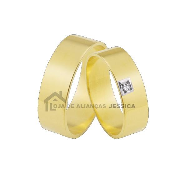 Aliança Em Ouro 18k Com Diamante - L-JB-55 - Alianças Jessica