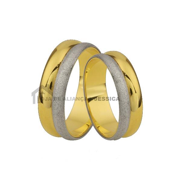 Aliança Para Casamento Em Ouro 18 k 2 Cores - L-E-61 - Alianças Jessica