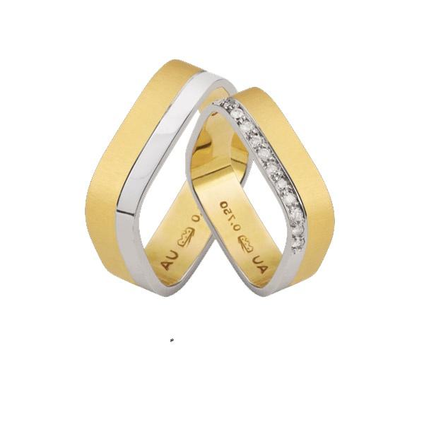 Alianças De Ouro Amarelo e Branco Quadrada - L-K-47 - Alianças Jessica