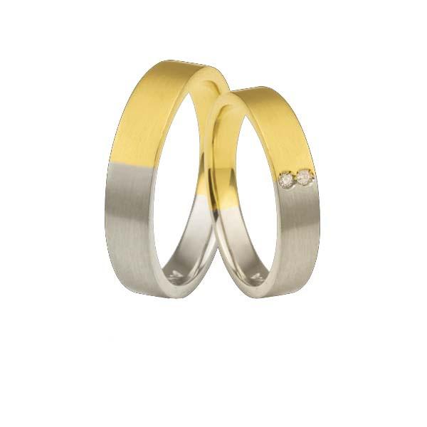 Aliança Duas Cores Com Diamantes - L-CB-41 - Alianças Jessica