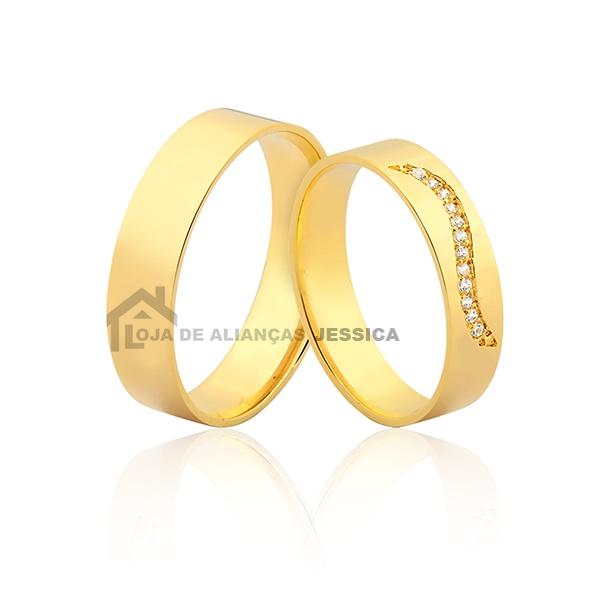Aliança Casamento Ou Noivado Com Pedras - L-JN-405 - Alianças Jessica