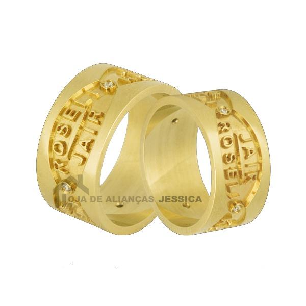 Aliança Com Nomes Em Ouro 18k - L-JN-43 - Alianças Jessica
