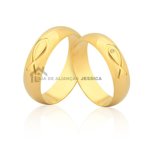 Alianças Com Peixes Em Ouro 18k - L-JN-376 - Alianças Jessica