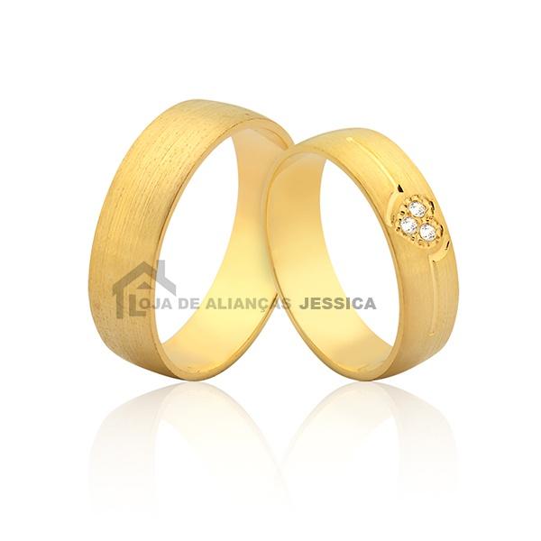 Alianças De Coração Em Ouro 18k - L-JN-398 - Alianças Jessica