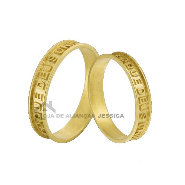 Aliança Ouro 18k Com Frase - L-JN-104 - Alianças Jessica