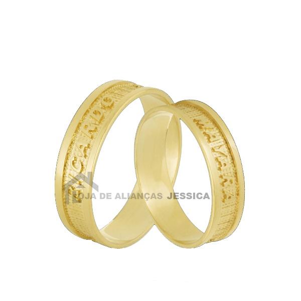 Aliança Ouro 18k Personalizada Com Nome - L-JN-44 - Alianças Jessica