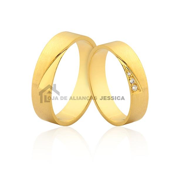 Alianças Com Pedras Em Ouro 18k - L-JN-402 - Alianças Jessica