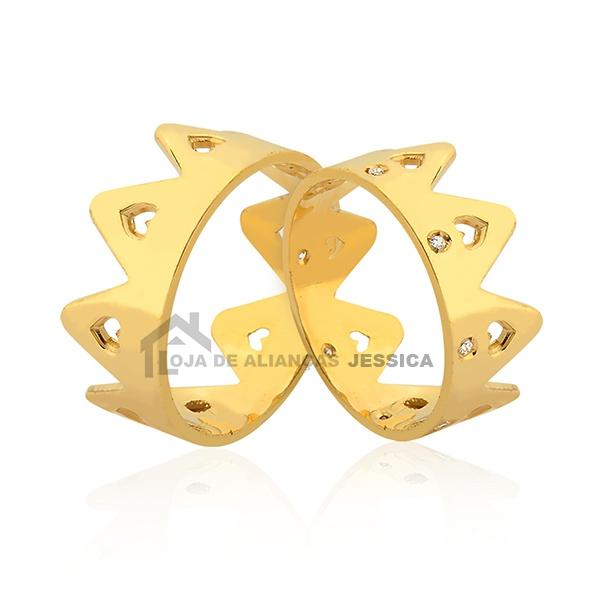 Alianças De Coroa Em Ouro 18k - L-JN-377 - Alianças Jessica