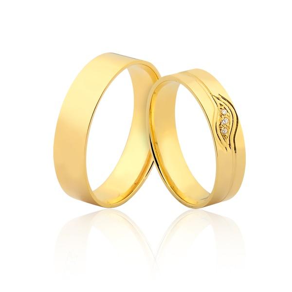 Aliança De Ouro 18k Com Pedras - L-JN-400 - Alianças Jessica