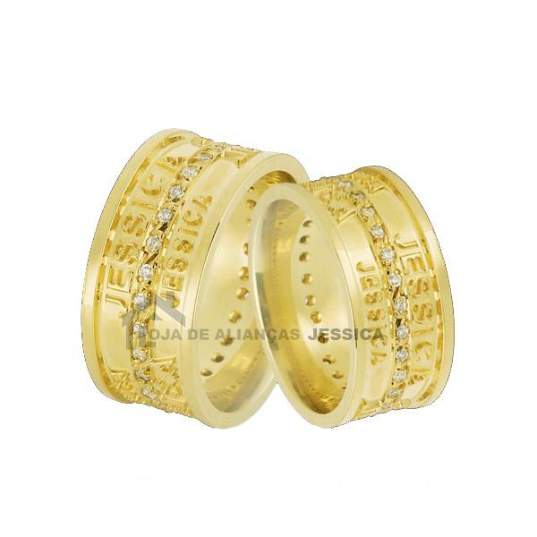 Alianças Em Ouro Com Nomes Gravados Alto Relevo - L-JN-39 - Alianças Jessica