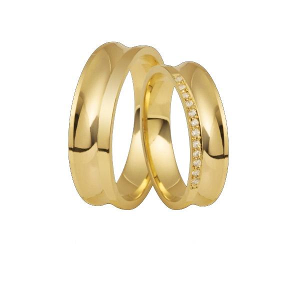 Aliança Concava De Ouro 18k Com Diamantes - L-DA-61 - Alianças Jessica