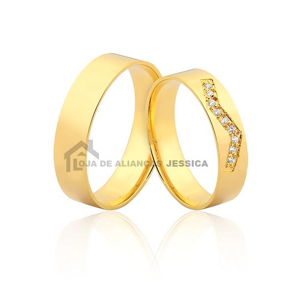 Aliança De Noivado Com Diamantes - L-JN-401 - Alianças Jessica
