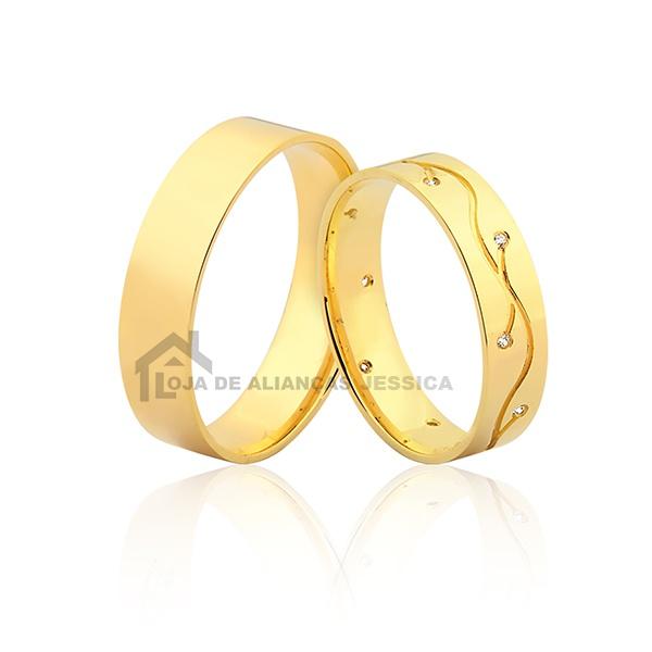 Alianças De Ouro 18k Personalizada Com Diamantes - L-JN-409 - Alianças Jessica