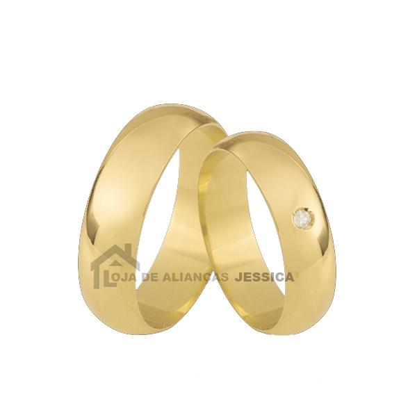 Alianças De Ouro Tradicional Com Pedra Grátis - L-CB-75-10K - Alianças Jessica