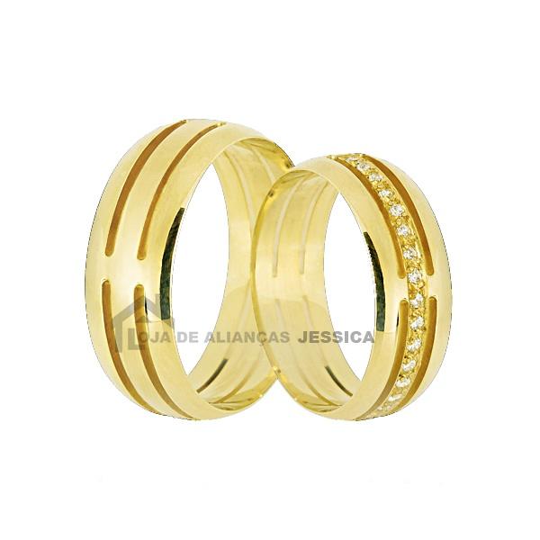 Aliança De Ouro Vazada Com Diamantes - L-JN-48 - Alianças Jessica