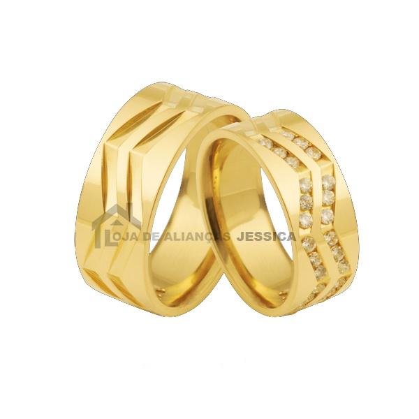Aliança Em Ouro 18k Com Diamantes - L-DB-63-B - Alianças Jessica