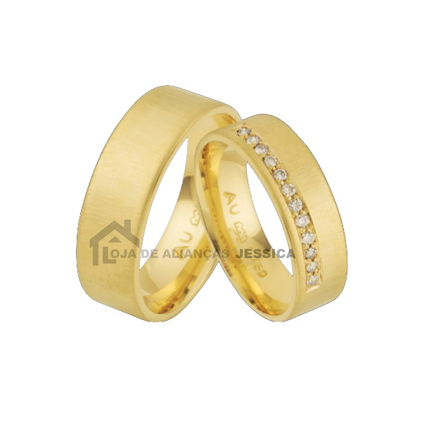 Aliança Em Ouro 18k Com Diamantes - L-JA-61 - Alianças Jessica