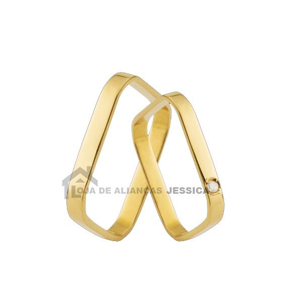 Aliança Em Ouro 18k Quadrada