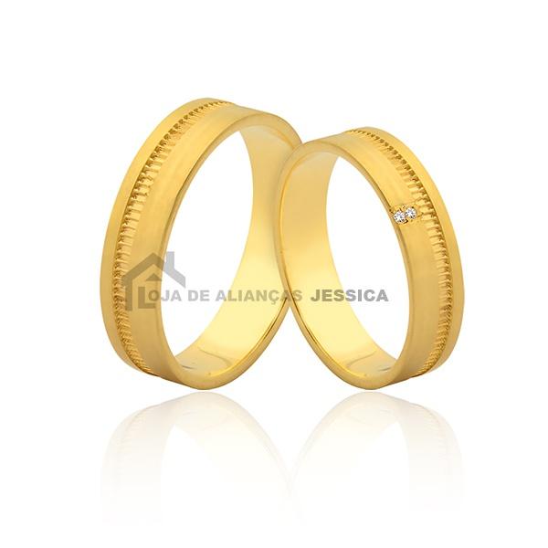 Aliança Trabalhada Em Ouro 18k - L-JN-408 - Alianças Jessica