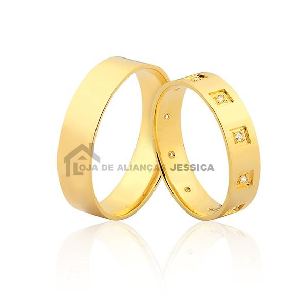 Alianças Com Diamantes De Ouro 18k - L-JN-404 - Alianças Jessica