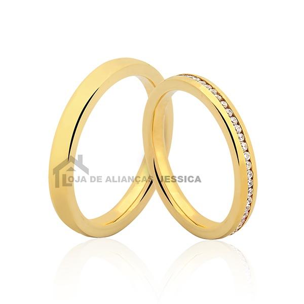 Alianças Com Diamantes Em Ouro 18k - L-JE-553 - Alianças Jessica