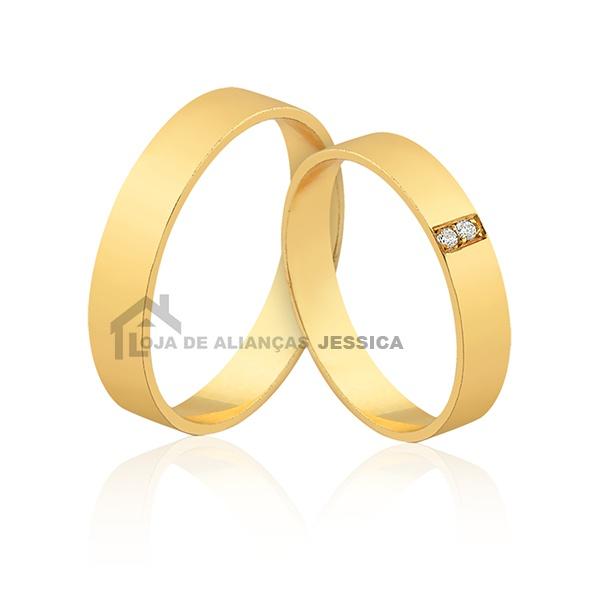 Alianças Com Diamantes Ouro 18k - L-JE-642 - Alianças Jessica
