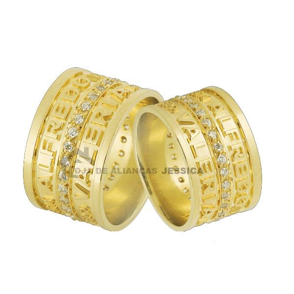 Alianças De Ouro Com Nomes e Diamantes - L-JN-37 - Alianças Jessica