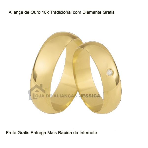 Alianças De Ouro Tradicional Com Diamante Grátis - L-CB-75 - Alianças Jessica