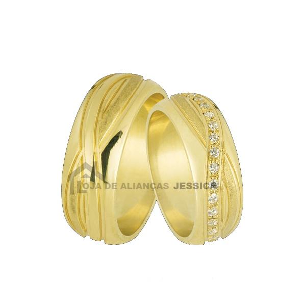 Alianças Com Símbolo Do Infinito Em Ouro 18k - L-JN-12 - Alianças Jessica