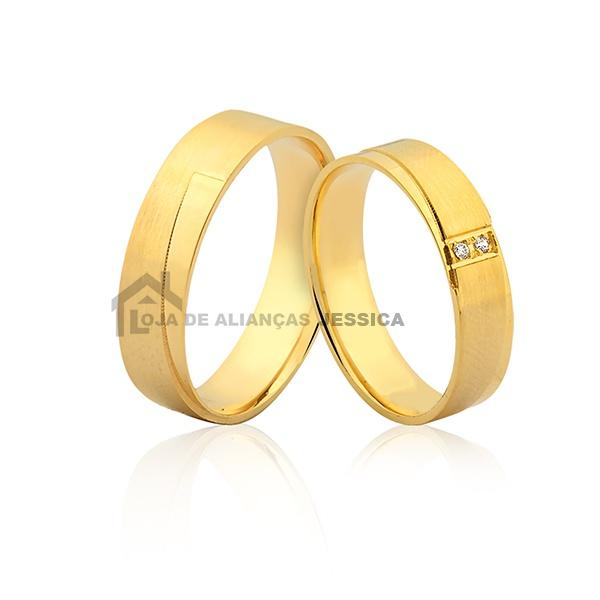 Alianças Em Ouro 18k Com Pedras
