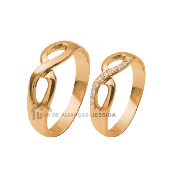 Aliança Do Infinito Em Ouro Rose 18k - L-CB-79-R - Alianças Jessica