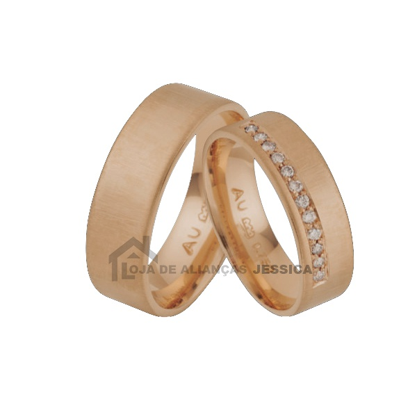 Aliança Em Ouro 18k Rose Com Diamantes - L-JA-61-R - Alianças Jessica