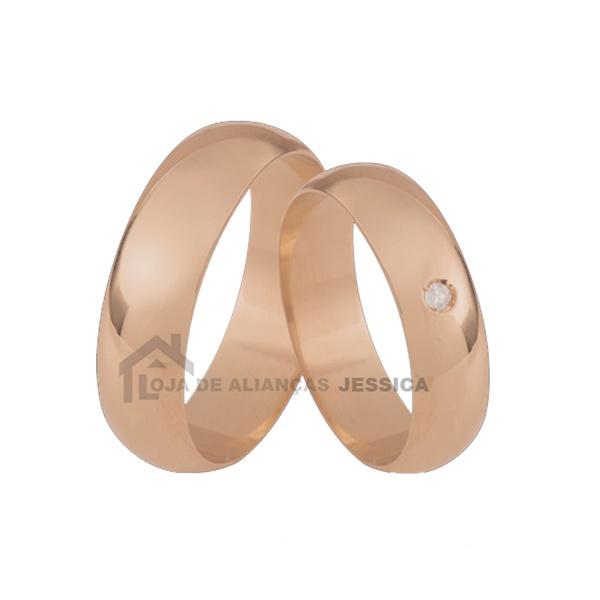 Alianças De Ouro Rose Tradicional Com Pedra Grátis - L-CB-75-R-10K - Alianças Jessica