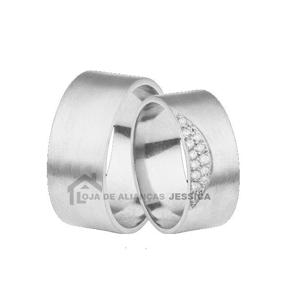 Aliança Em Ouro Branco 18k Com Diamantes - L-JB-82-B - Alianças Jessica