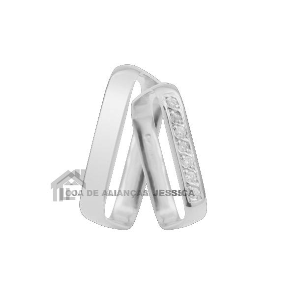 Aliança Em Ouro Branco 18k Quadrada Com Diamantes - L-K-46-B - Alianças Jessica