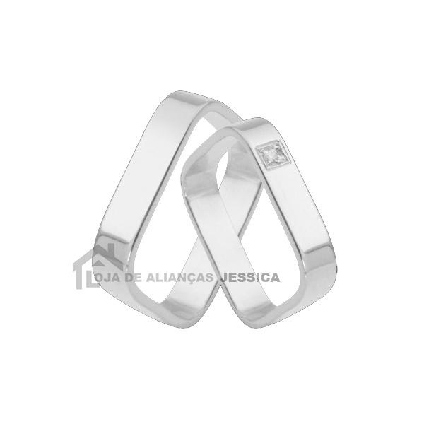 Aliança Em Ouro Branco 18k Quadrada - L-K-45-B - Alianças Jessica