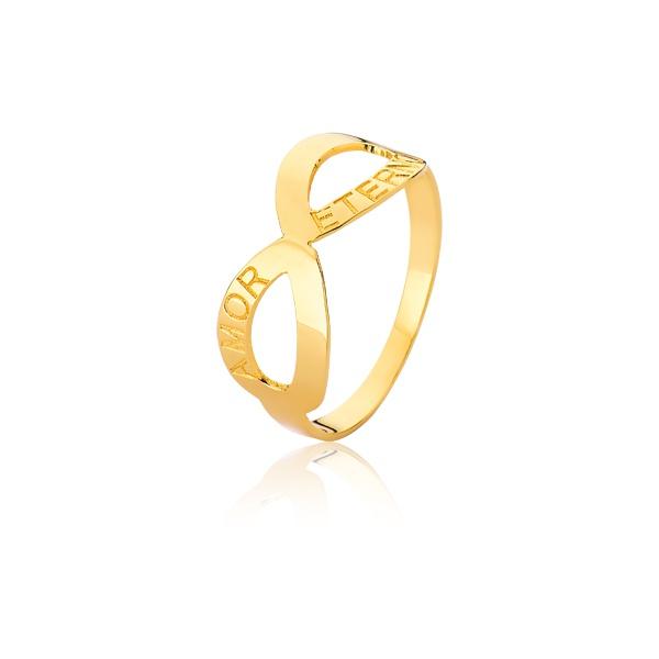 Anel Com Símbolo Do Infinito Ouro - L-A-09-10K - Alianças Jessica