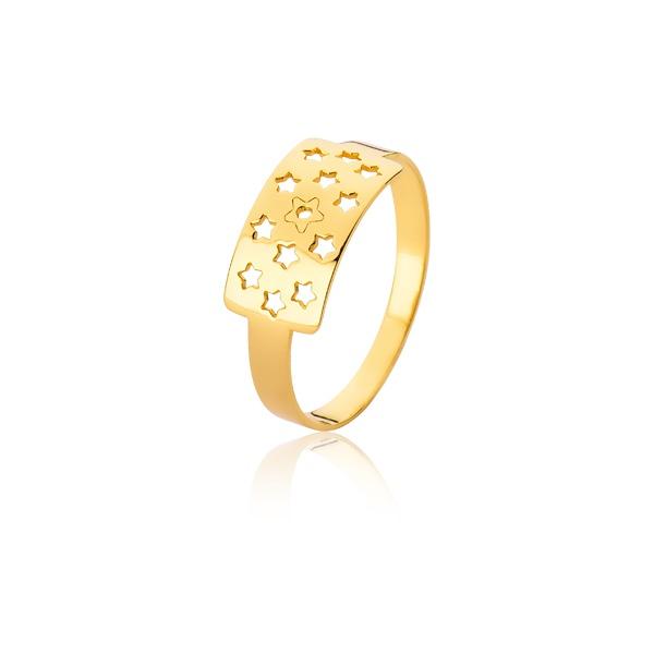 Anel De Estrelinhas De Ouro - L-A-12-10K - Alianças Jessica